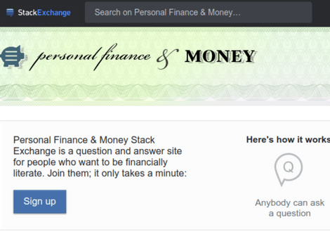 StackExchange Forum For Stock Markets & Personal Finance