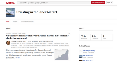 Quora Showing A Stock Related Topic
